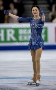 Figure Skating Dress Women's Ice Skating Dress Spandex Handmade blue