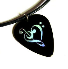 Music Heart Guitar Pick Necklace, holo black, musician gift stocking stuffer