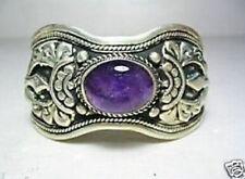 Exquisite Tibet Silver natural Amethyst Cuff Bracelet