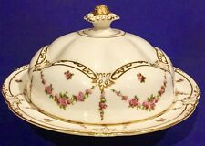 ANTIQUE GEORGE JONES & SONS CRESCENT  CHINA MUFFIN DISH W/ LID, PINK ROSES SWAG