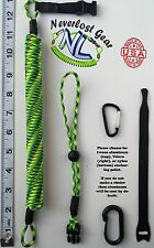 NEVERLOST Fishing Rod, Kayak, Paddle Leash w/ Quick Release. Extends 9FT+ Gecko