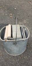 Vintage Antique De Luxe Metal Mop Bucket Wood Wringer Deluxe Galvanized
