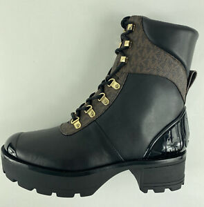 Michael Kors MK Khloe Leather Logo Combat Boot Women Size 10 M New MRSP $ 245