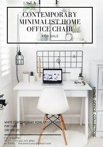 White Contemporary Minimalist Home Office Chair for Sale