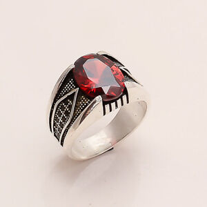 Natural Mexican Red Apatite Solitaire Ring 925 Sterling Silver Designer Jewelry