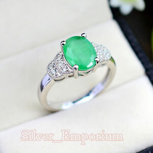 Natural Oval Zambian Emerald  Gemstone 925 Sterling Silver Wedding Ring For Her