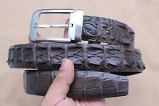 W 3.5cm - Dark Gray Genuine Crocodile Leather Skin MEN'S Belt - Without Jointed