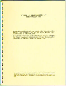 LIONEL TRAINS O GAUGE NUMBER LIST 1935 TO 1966 - TRAIN COLLECTORS ASSOCIATION