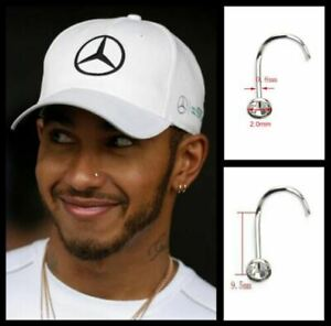 Men's/Boy's: Lewis Hamilton 18ct White Gold Plated 2mm Crystal Diamond Nose Stud