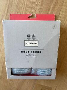 Hunter Boot Socks Tall Size Large Sky Blue Mohair