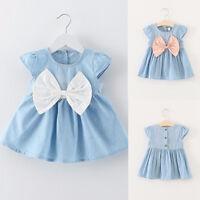 Bebé Niño Niños Vestido de verano niña fiesta Princesa Bata Azul Arco