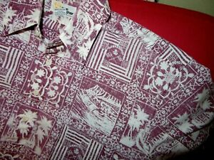 REYN SPOONER Cloth Vintage Hawaii State Ponoi Anthem Hawaiian SHIRT Red-Large