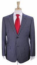 * Z ZEGNA * Recent Gray w/ Sky Blue Striped 2-Btn City Fit Wool Suit 40S