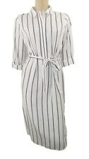 Marks & Spencer Collection Ivory & Striped Shirt Dress with Belt Orig Price £39