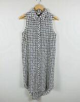 Label Of Love Womens Dress Size Small (AU 8-10) Shirt Dress White Black Check