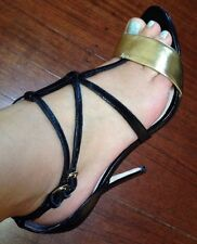 Mimco Leather Gold Black Leather Heels Wedges Shoes Sandals 39 Or 8