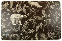 Set Of 6 Woodland Stag Plastic Christmas Table Place Mats 44 x 28 cm (Dark Grey)
