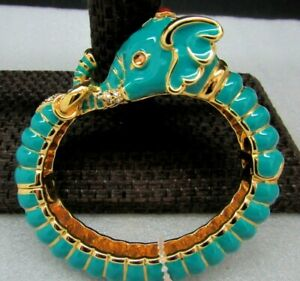Kenneth J Lane KJL Blue Enamel Rhinestone Elephant Head Cuff Bracelet book NIB