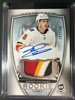 2018-19 The Cup Juuso Valimaki Calgary Flames Rookie Auto 4 Color Patch /249