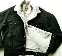 *HOT Vtg USA LEVI'S 70609 SHERPA LINED Fleece TRUCKER BLACK Denim JACKET Jeans M