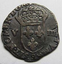 Très belle monnaie - 1/8 d'écu - Henri III - 157? 9 - Rennes -