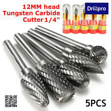 5Pcs 12MM Head Tungsten Carbide Rotary Point Burr Die Grinder 6mm Shank Cutter