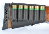 Shotgun Cartridges Holder Butt Stock Ammo Carrier 6 Loops Shell Leather 12 Ga