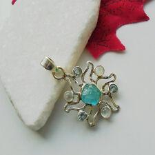 Mondstein Blautopas Apatit Stern blau grün Design Anhänger, 925 Sterling Silber