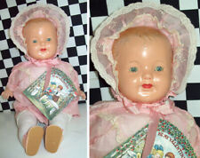 "15""Antique Composition Unmarked Girl Doll Pink Dress & Shoes Cloth Jointed Body~"