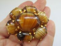 Vintage Singed SPHINX Gold Tigers Eye Agate Glass Cabochon Flower Brooch Pin