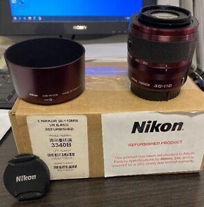 Nikon 1  30-110MM F/3.8-5.6 VR Lens Red/Burgundy.  For Nikon 1 J Cameras, Tested