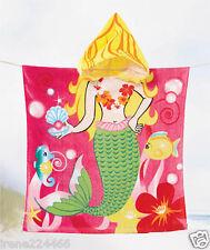 Kids Mermaid Hooded Bath Beach Towel Cover Up Cotton 24x48 NIP