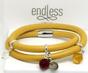 """ENDLESS Yellow Leather Double Wrap 925 Sterling Silver 4 Charm Bracelet -7.5"""""""