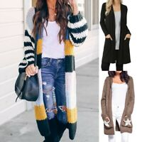 Women Autumn Chunky Knitted Cardigan Long Sweater With Pocket Loose Coats AU