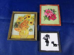 3x Wandbild Puppenstube Puppenhaus Scherenschnitt Kind Katze Blüten 60er