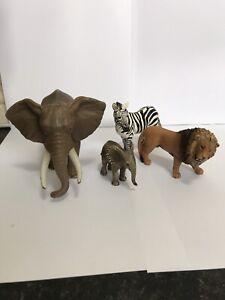 Schleich Wildlife Bundle Set Lion Zebra  Elephant Zoo Safari