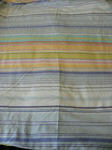 Pottery Barn Full/Queen Duvet Cover Striped Pink White Blue Purple Button Close