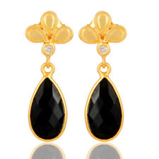 Black Onyx Gemstone 30MM Dangle Earrings Handmade 925 Silver Rare Jewelry