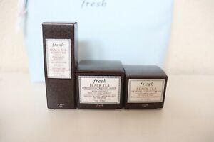 3pcs Fresh Black Tea Facial Treatment Essence Firming Cream & Overnight Mask