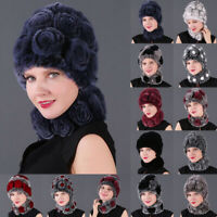 Fashion Women Rex Rabbit Fur Caps Scarves Knitted Hat Scarf Sets Winter Warm