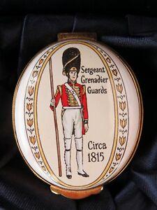 Crummles Enamel Trinket Box, Sergeant Grenadier Guards Circa 1815, Original Box