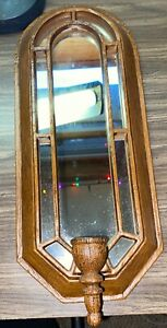 """Vintage Metal Mirror Candle Holder Wall Sconce Made To Look Like Wood 16"""""""