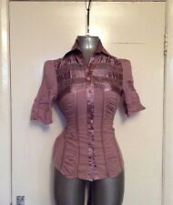 SUGAR LIPS. SIZE MEDIUM, PINK/PURPLE SHORT SLEEVE LACE BLOUSE/TOP/SHIRT, COTTON