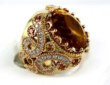 Huge Wide Citrine Ring w/Diamond & Sapphire Filigree Accents 14k YG 17.26Ct