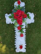 Cross Shaped Silk Artificial Funeral Flowers Wreath/crucifix Grave Tribute 20""
