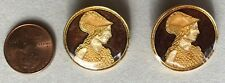 """TWO (2) Beautiful Cold-Enameled ELEANOR OF AQUITAINE Buttons in Brown - 3/4"""""""