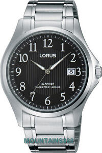 LORUS Watch, Sapphire Glass, Date, Stainless Steel, WR50, Mens, RS995BX-9
