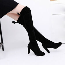 Autumn Winter Snow Boots Women Suede Over Knee Long Thigh Boot Flat Flock Shoes