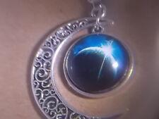 "Pendant & Necklace "" New "" Awsome - Universe Half Moon Planets"