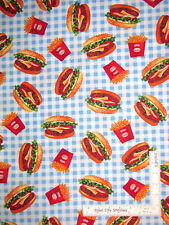 Hamburgers Burgers French Fries Blue Cotton Fabric Robert Kaufman By The Yard